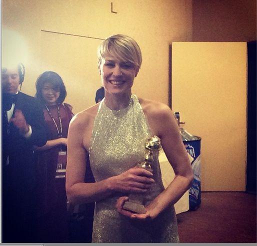 Robin Wright en backstage après la remise de son prix - © Golden Globes/Instagram