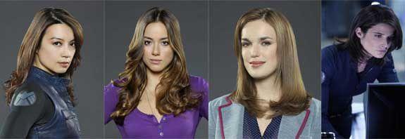 """Melinda May (Ming-Na), Skye (Chloe Bennett), Jenna Simmons (Elizabeth Henstrige) et Maria Hill (Cobie Smulders) sont les héroïnes de """"Agents of SHIELD"""". Entre la tête et les jambes, il y a de quoi faire avec ces femmes d'action aux profils très différents - © ABC"""
